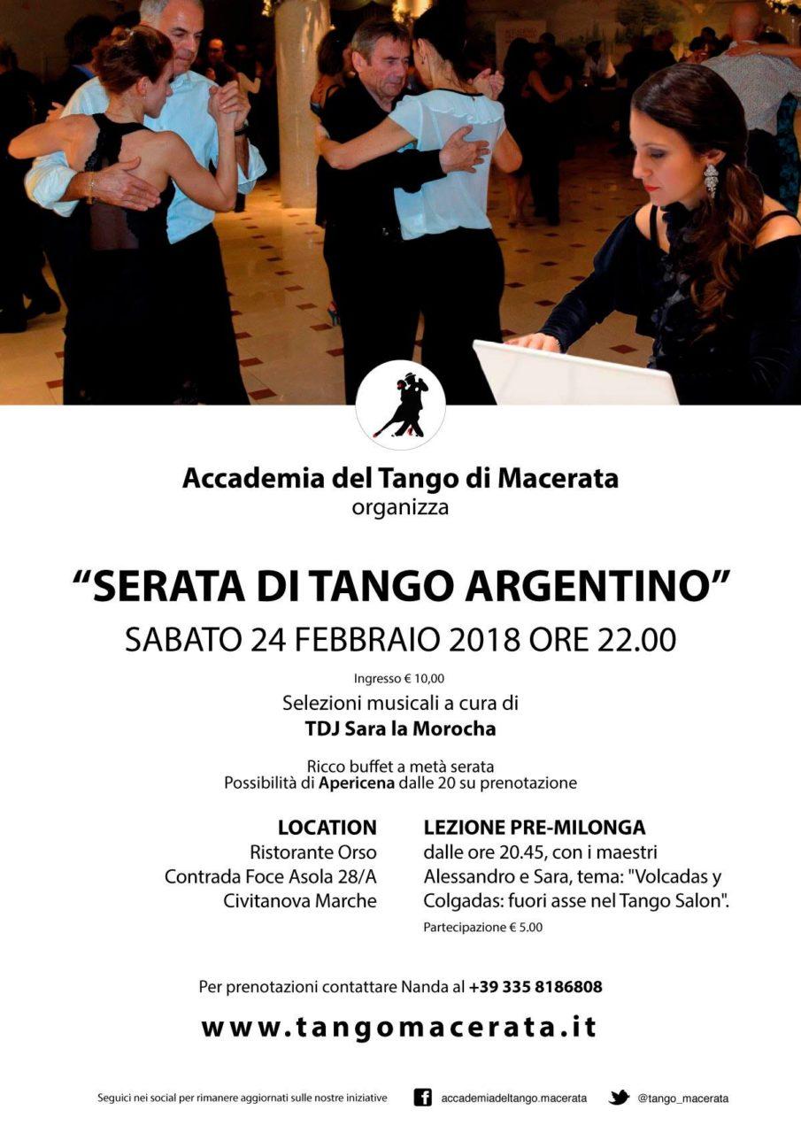 Locandina Serata di Tango Argentino Sabato 24 Febbraio 2018